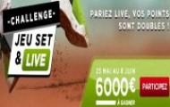 """Challenge """"Jeu, Set & Live"""" sur Betclic : 6000 € à gagner en pariant sur le tennis"""