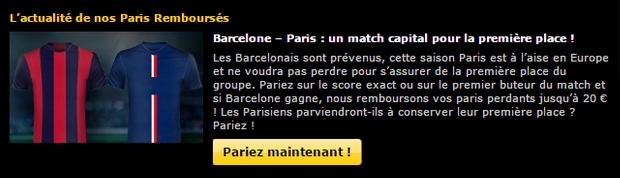 scénario Bwin Barcelone/PSG