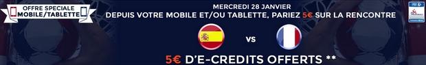 5 euros offerts sur la rencontre Espagne-France sur ParionsWeb