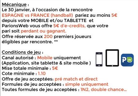 Offre mobile ParionsWeb rencontre Espagne-France