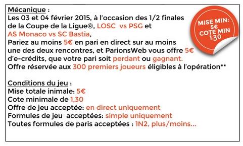 Lille/PSG et Monaco/Bastia sur ParionsWeb