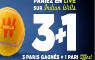 3+1 Indian Wells sur Winamax :  pour 3 paris en direct gagnés 1 pari vous est offert