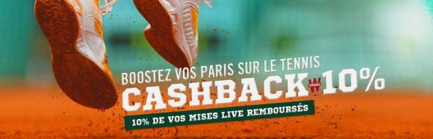 Le cashback tennis sur Winamax