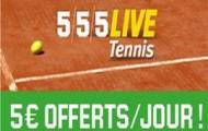 Pariez en live sur le tennis avec Unibet : recevez 5 euros de paris gratuits chaque jour