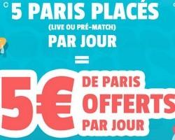 5 paris placés = 5€ offert France-Pari