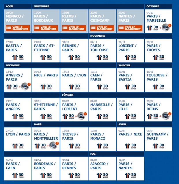 Programme PSG Ligue 1