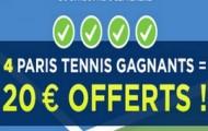 Challenge US Open sur ParionsWeb du 31 Août au 6 Septembre : 4 paris gagnés = 20€ d'e-crédits offerts
