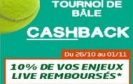 Tournoi de tennis de Bâle sur PMU : Pariez en Live sur les matchs Simple Messieurs et recevez 10% de Cashback