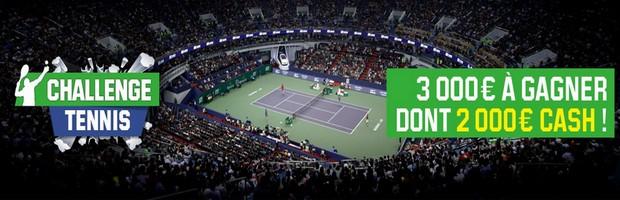 Challenge tennis d'octobre sur Unibet