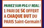 Pariez sur PSG-Real Madrid du 21 Octobre avec PMU : Recevez un pari gratuit de 5€ à chaque but parisien