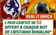 Pariez sur le Clasico Real / Barça de samedi avec PMU.fr : 5€ offerts à chaque but de Cristiano Ronaldo