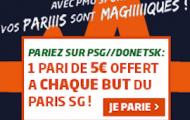Pariez sur PSG - Donetsk du 8 décembre avec PMU et recevez un pari gratuit de 5€ à chaque but parisien