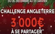 Le Challenge Angleterre sur ParionsWeb : 3.000€ d'e-crédits mis en jeu du 26 décembre au 3 janvier