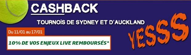 10% de cashback tennis sur PMU du 11 au 17 janvier