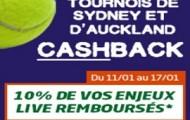 Tournoi d'Auckland et de Sydney sur PMU : 10% de vos mises live tennis remboursées du 11 au 17 janvier