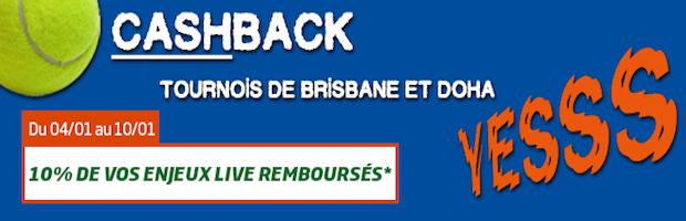 Les tournois de tennis de Brisbane et Doha avec PMU Sport