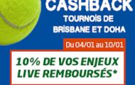 Misez sur les tournois de tennis de Brisbane et de Doha sur PMU Sport : 10% de Cashback sur vos paris en Live