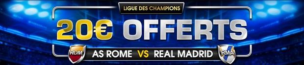 20 € offerts pour Rome-Real Madrid sur NetBet