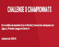 Challenge 3 Championnats sur Zebet.fr