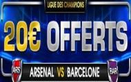 Pariez sur la Ligue des Champions avec NetBet : 20€ de Cahsback offerts sur le match Arsenal - Barcelone