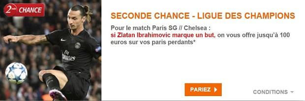Offre Seconde Chance PSG-Chelsea sur PMU