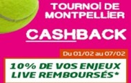 Pariez sur le tournoi de tennis de Montpellier avec PMU : 10% de cashback sur vos mises en direct