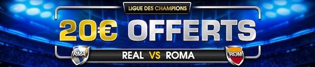 Paris remboursés lors de Real/Rome sur NetBet