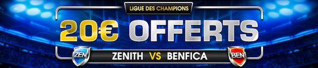 Enjeux remboursés pour Zenit/Benfica sur NetBet