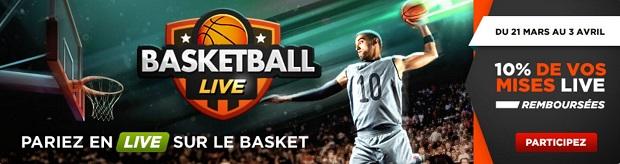 Cashback de 10 % sur tous vos paris live basket sur Betlic