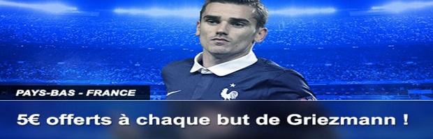 Griezmann inscrit un but : France Pari vous offre 5 €