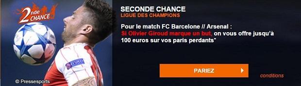 Seconde Chance sur PMU pour Barca/Arsenal