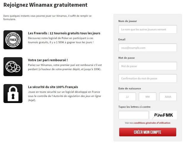 Indiquez vos identifiants sur Winamax.fr