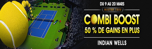 Tournoi de tennis d'Indian Wells : 50% de gains en plus sur vos paris combinés avec NetBet