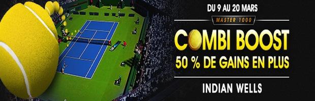 Tournoi de tennis d'Indian Wells : 50% de gains en plus sur vos paris combinés avec NetBet