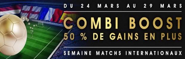 Combi Boost sur les matchs internationaux sur Netbet