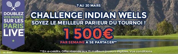 1.500 € par semaine pour le tournoi d'Indian Wells sur Parionsweb