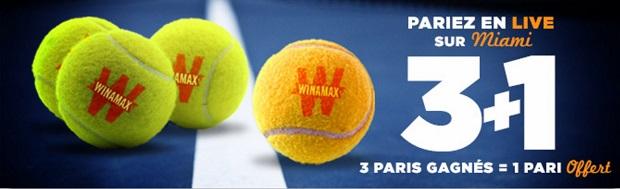 Paris gratuits pour le Masters 1000 de Miami sur Winamax