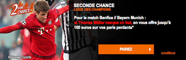 Promotion Seconde Chance sur Benfica / Bayern Munich avec PMU.fr