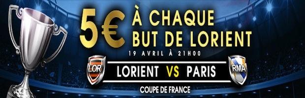 Netbet.fr vous offre 5 euros de bonus à chaque but de Lorient face au Paris SG