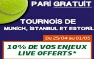 100€ offerts si vous misez en live sur les tournois de tennis d'Estoril, de Munich et d'Istanbul avec PMU