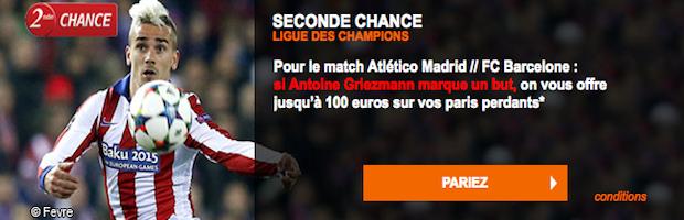 100€ remboursés sur Atletico Madrid / Barcelone en Ligue des Champions sur PMU Sport
