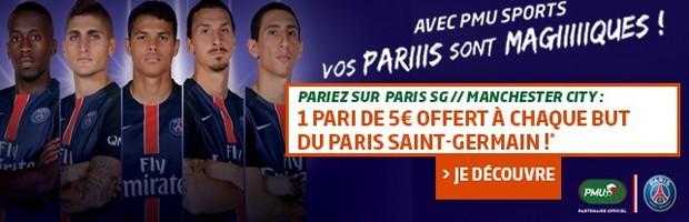 PSG/Manchester City sur PMU : 1 but parisien = 5 € offert