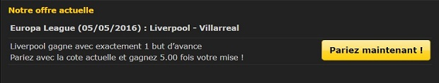 Cote boostée sur Liverpool-Villareal avec Bwin