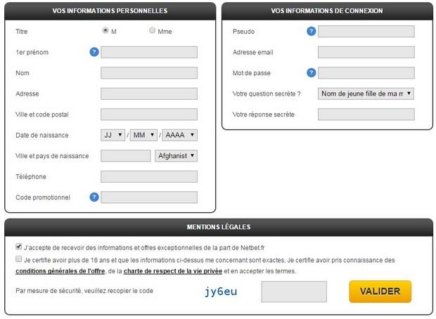 Inscription sur NetBet.fr