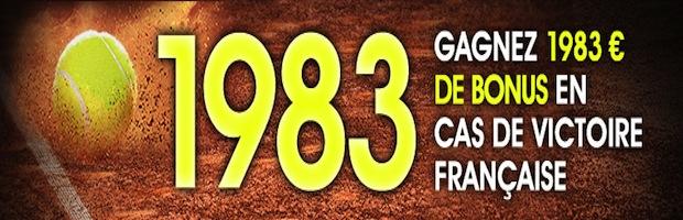 Netbet vous offre 1983 euros de bonus si votre Mousquetaire remporte Roland-Garros