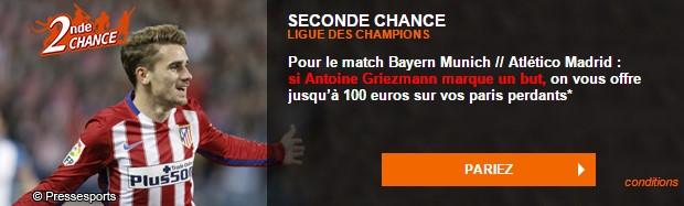 Pariez en Seconde Chance sur Bayern-Atletico avec PMU