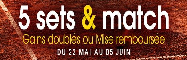 Promotion 5 sets et match sur Netbet.fr pour Roland-Garros
