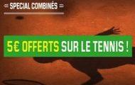 Pariez en combiné sur le tournoi de Roland-Garros 2016 avec Unibet : 5€ de Cashback offert jusqu'au 29 mai