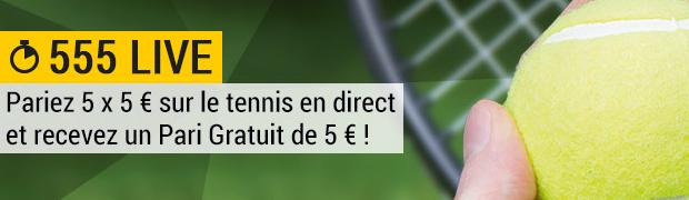 Pendant Wimbledon, Bwin offre 5€ de paris gratuits grâce à l'offre 555 LIVE