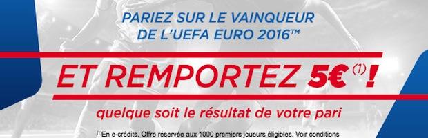 Euro 2016 sur Parions Web : 5 euros de bonus offerts